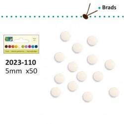 50бр. бели брадс 5мм - Brads 5mm x50 wit