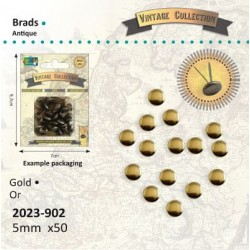 Винтидж златисти брадс, 50бр. 5мм - Brads Vintage 5mm x50 goud