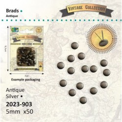 Винтидж сребристи брадс 5мм, 50бр. - Brads Vintage 5mm x50 zilver
