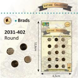 Винтидж брадс, асорти - 15бр. - Vintage brads round x15