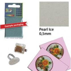 Стъклени топчета за декориране - малки бели с перлен ефект - Glaskorrels 0,5mm 25g pearl ice - 25гр.