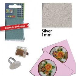 Стъклени топчета за декориране - сребро - Glass grains 1 mm. silver 25 grs. - 25гр.