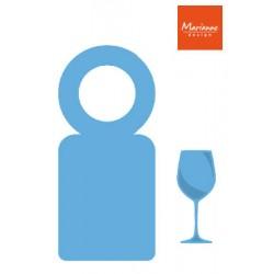Щанца за изрязване етикет за бутилка и чаша вино - Marianne Design Creatables bottle label