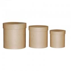 Сет от 3бр. цилиндрични кутии от папие маше - Paper mache box high round set 3x