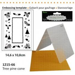 Ембосинг папка с размери 10.8х14.6см коледна с прозорец -  Darice - Embossing template 10,8x14,6cm tree pine cone