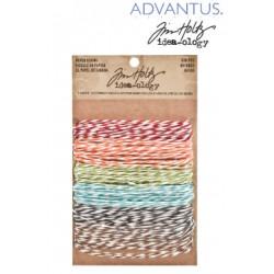 Комплект от 6 бр.пресукан памучен конец - Advantus Tim Holtz paper strings stripes
