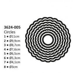 Универсални шаблони за рязане и релеф 8бр. кръг - Shape cutting x8 dies circles scallop