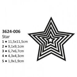 Тънки метални щанци 5 размера звезди - Shape cutting x5 dies stars
