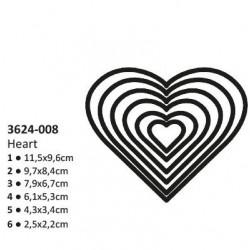 Тънки метални щанци 6 размера сърца - Shape cutting x6 dies hearts
