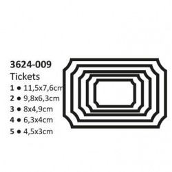 Щанци за изрязване и релеф етикети/ надписи/ тагове 5 размера - Shape cutting x5 dies tickets