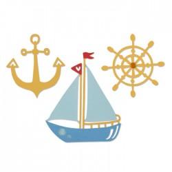 Тънка метална щанца кораб, рул и котва - Sizzix thinlits die set x3 pk shipmates