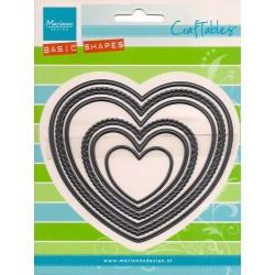 Тънки метални щанци комплект от сърца - Marianne Design Craftables heart