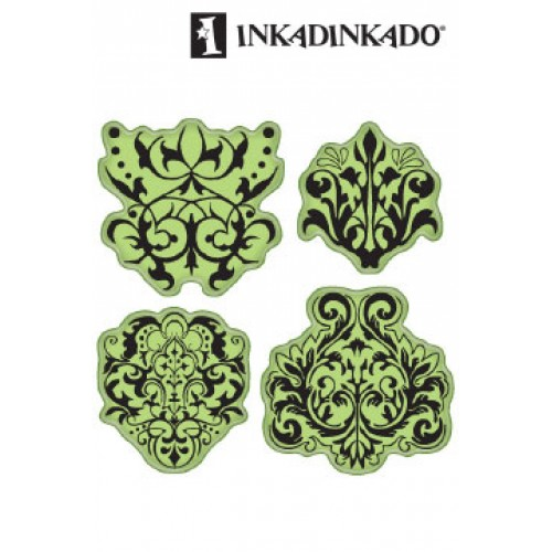 Клинг печат - Inkadinkado cling stamps x4 damask