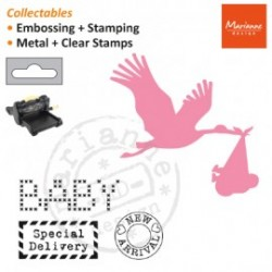 Тънка метална щанца щъркел и 3бр. печати - Marianne Design Collectables stork
