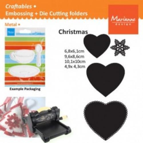 Универсална щанца за рязане и релеф 6бр. сърца - Marianne Design Craftables heart shapes