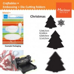 Комплект универсални тънки метални щанци за рязане и релеф елхи - Marianne Design Craftables christmas tree shapes