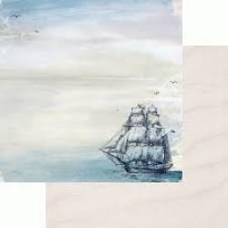 """Двустранен дизайнерски лист - Kaiser craft Sail away double-sided 12x12"""" ship"""