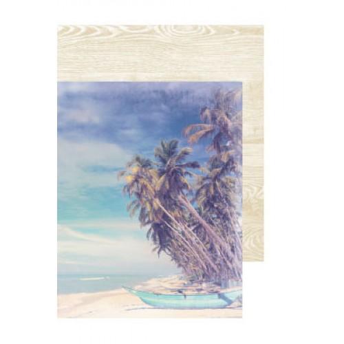 """Двустранен дизайнерски картон с палми - Kaiser craft coastal escape double-sided 12x12"""" palms"""