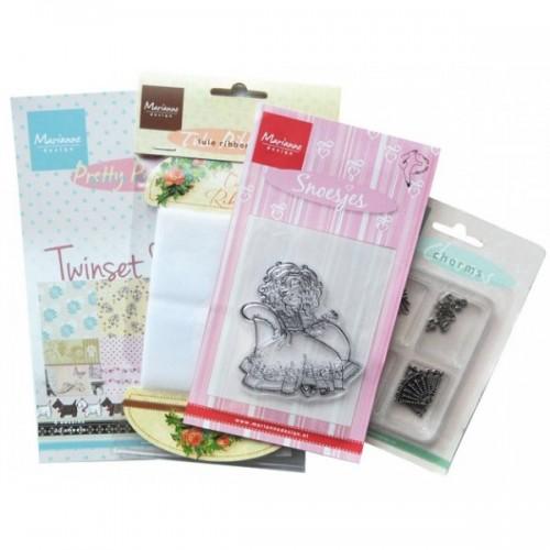 Комплект - блокче, мет.елементи, печат и панделка - Marianne Design products assorti diva