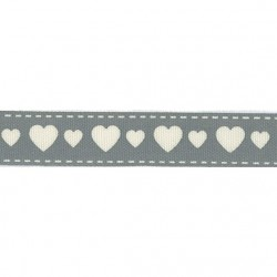 Панделка със сърца  - Ribbon 15mm hearts - 1 метър