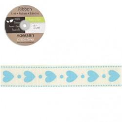 Панделка със сърца и точки - Ribbon 15mm hearts and dots - 1 метър