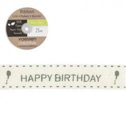 Панделка с принт - Ribbon 15mm happy birthday - 1 метър