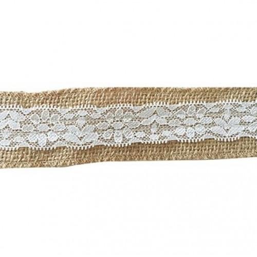Лента зебло с дантела - Ribbon 5m 40mm - 5 метра