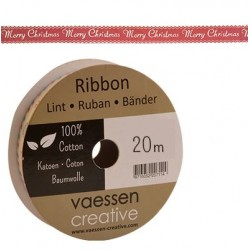 Панделка с принт - Ribbon printed 15mm merry christmas - 1 метър