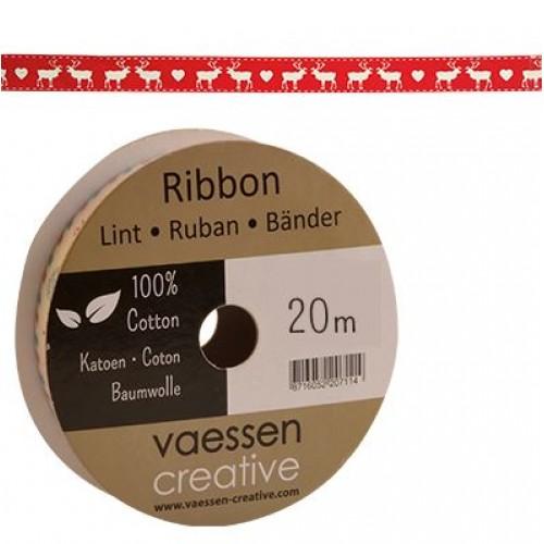 Панделка с принт - елени и сърца - Ribbon printed 15mm reindeer-heart - 1 метър