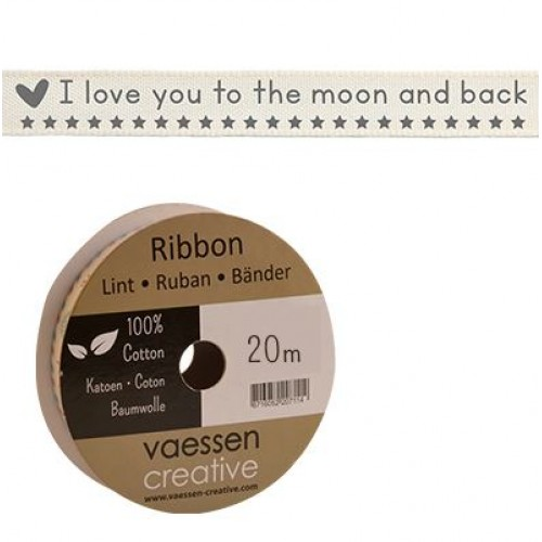 Панделка с принт - Ribbon 15mm I love you to the moon and back - 1 метър