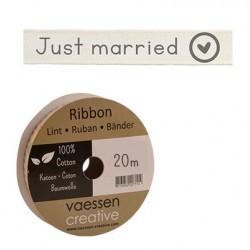 Панделка с принт - Ribbon 15mm just married - 1 метър