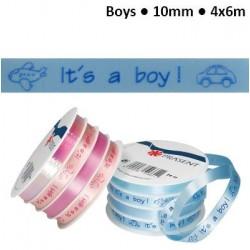 """Комплект от 4бр.панделки за накъдряне - момче -  Curling ribbon 10mm """"it's a boy"""" blue"""