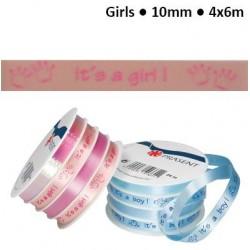 """Комплект от 4бр.панделки за накъдряне - момиче - Curling ribbon 10mm 4x6m """"it's a girl"""" pink"""
