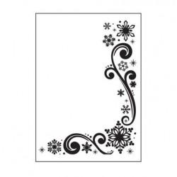 Ембосинг папка със снежинки - Embossing template 10,8x14,6cm snowflakes & scroll