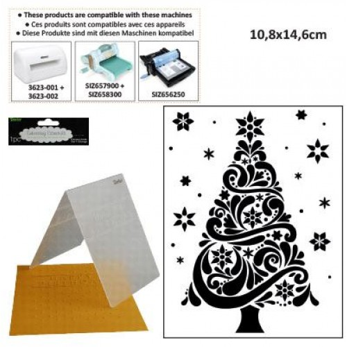Ембосинг папка елха - Embossing template 10,8x14,6cm christmas tree