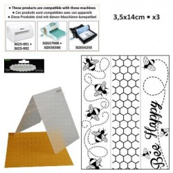 Бордюрни ембосинг папки - пчела - Embossing template 3,5x14,5cm x3 bee border set