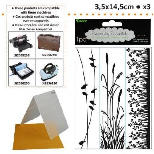 Бордюрни папки - природа - Embossing template 3,5x14,5cm x3 nature