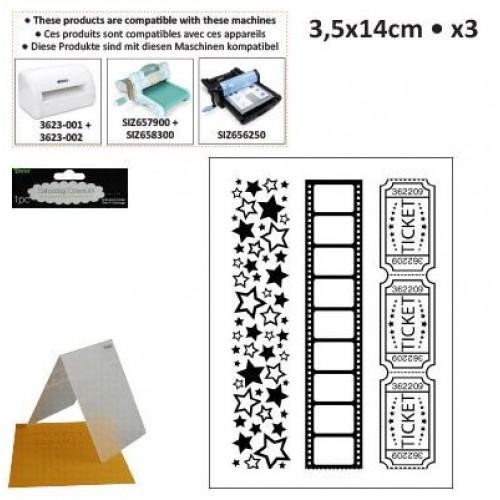 Бордюрни ембосинг папки - Embossing template 3,5x14,5cm x3 borders movie