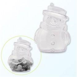 Пластмасова прозрачна фигура снежен човек - 2части - Plastic snow man 2 parts 10cm