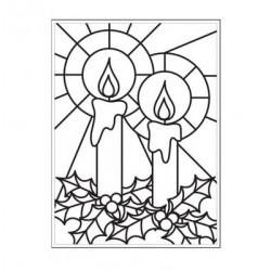 Ембосинг папка с новогодищни свещи - Embossing template 10,8x14,6cm mosaic candle