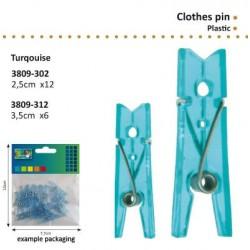 Комплект от 12бр. мини синьо прозрачни щипчици / пластмасови щипки - 2,5см - Clothes pin plastic
