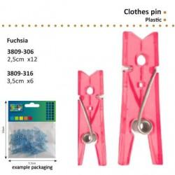 Комплект от 12бр. мини розово прозрачни щипчици / пластмасови щипки - 2,5см - Clothes pin plastic