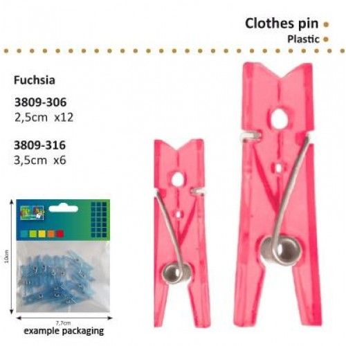 Комплект от 12бр. мини розово прозрачни щипчици - 2,5см - Clothes pin plastic