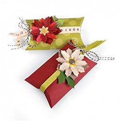 """Тънка метална щенца на кутийка """"възглавничка"""" с коледна звезда - Sizzix thinlits die set 7pk box pillow & poinsettias"""