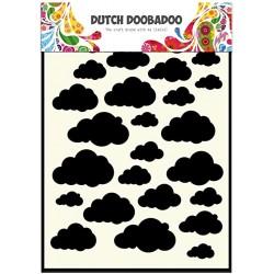 Шаблон за микс медиа - облаци - А5 - Dutch Doobadoo Mask Art A5 Clouds
