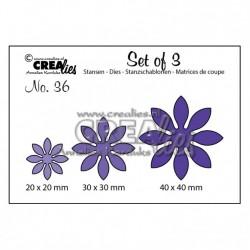 Щанца за изрязване на цветя - Crealies set of 3 snijmallen no.36 bloemen 18 - 3 размера