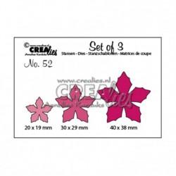 Щанца за изрязване - коледна звезда - Crealies set of 3 snijmallen no.52 bloemen 23 - 3 размера