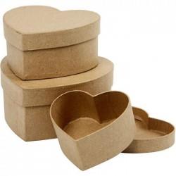 Комплект от 3 бр. кутии от папие маше във формата на сърце - Papier maché doos hart set
