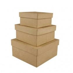 3бр. крафт кутии от папие маше - квадратни - Creativ 263720 Papier Mache Square Boxes - Pack of 3