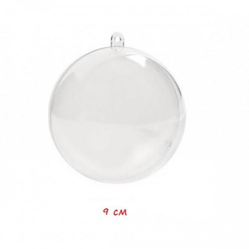 Пластмасова прозрачна топка за декорация - 2 части, 90 мм